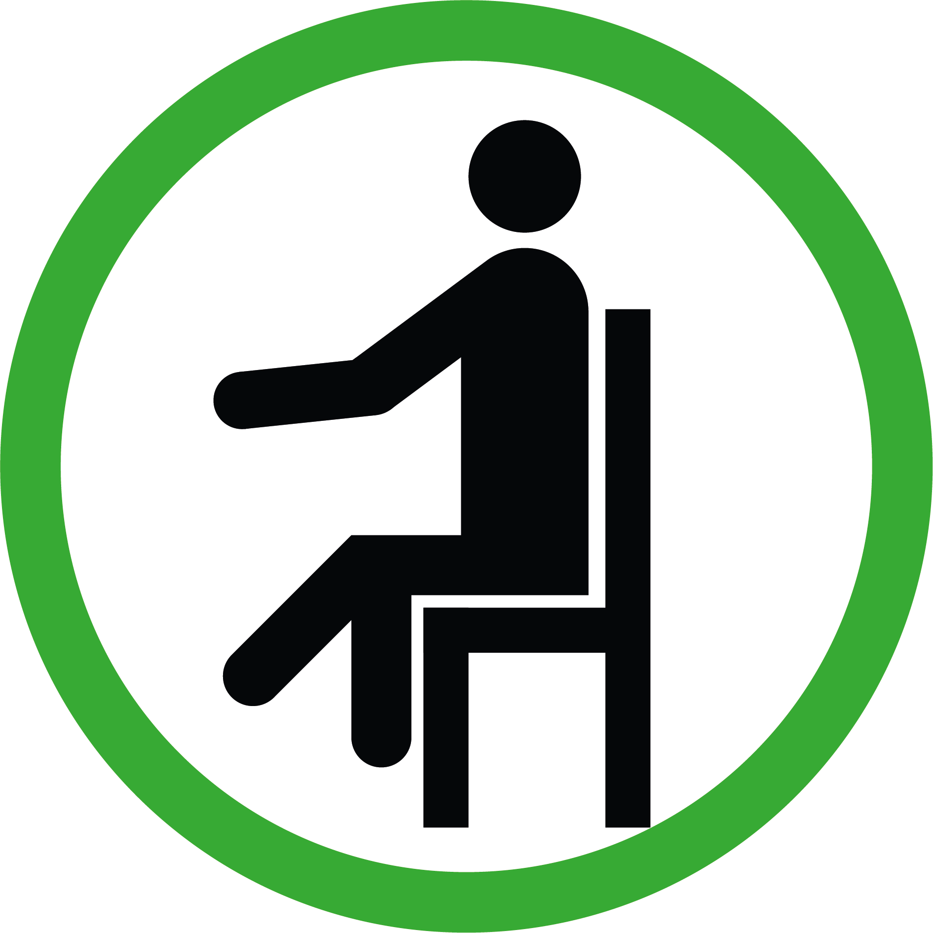 Set bestehend aus 2 Aufklebern: Sitzen erlaubt/nicht erlaubt, Rund,  je Ø 15 cm